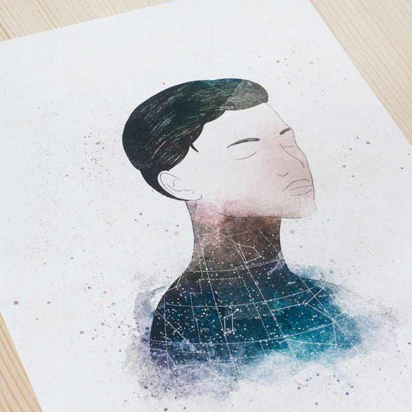 Ilustración Pichel mujer constelaciones