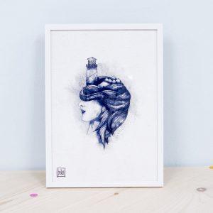 """Ilustración Pichel """"Mujer con faro"""""""