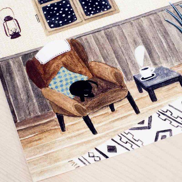 """Ilustración Raquel Martín """"Gato"""""""