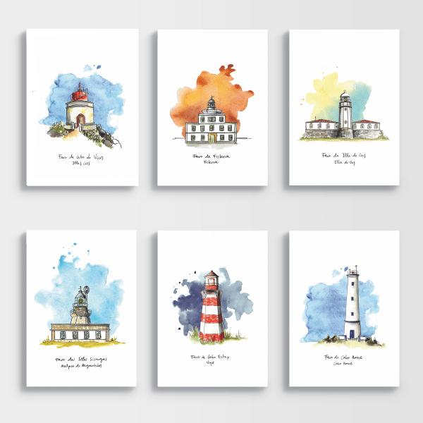 Ilustraciones faros Galicia